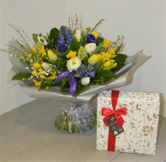 Yellow and Blue Spring Hand Tied with Chocs