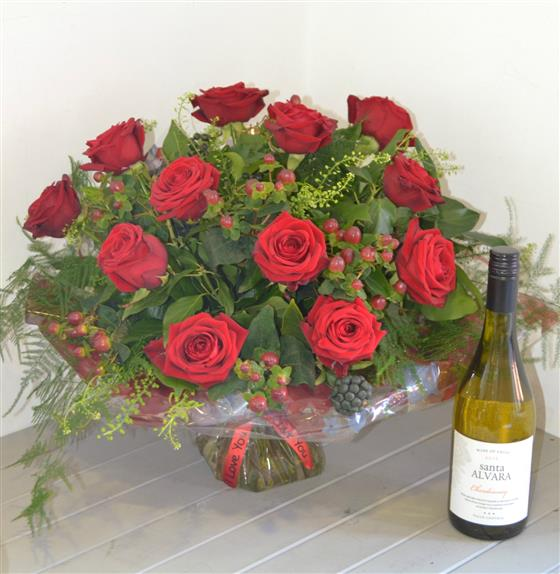 Deluxe 12 Red Roses with White Wine