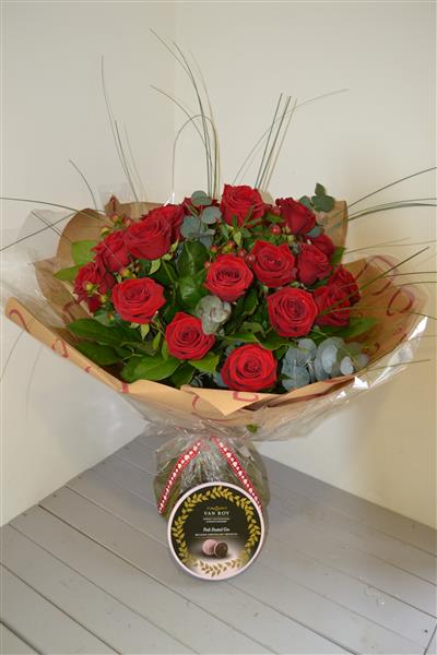 Two Dozen Red Rose Hand Tied with Chocolate Truffles