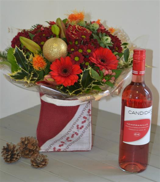 Merry Christmas Gift Bag with Rose