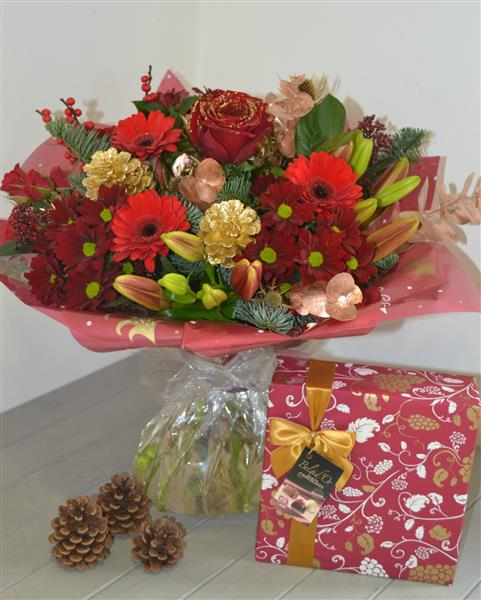 Flower Centre Christmas Hand-tied  with 345gm Chocolates